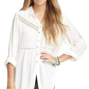Free People Wild Wing Woven Button Top White Sz M